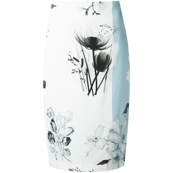 Gloria Coelho printed midi skirt (€300) ❤ liked on Polyvore featuring skirts, blue, mid calf skirts, high-waist skirt, zipper skirt, white knee length skirt and high-waisted skirts