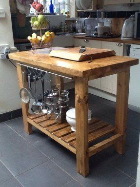 Handmade Rustic Kitchen Island/Butchers Block Solid Wood With Shelf And