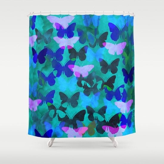 Blue Teal Green And Purple Butterfly Shower Curtain By Freakyzebra