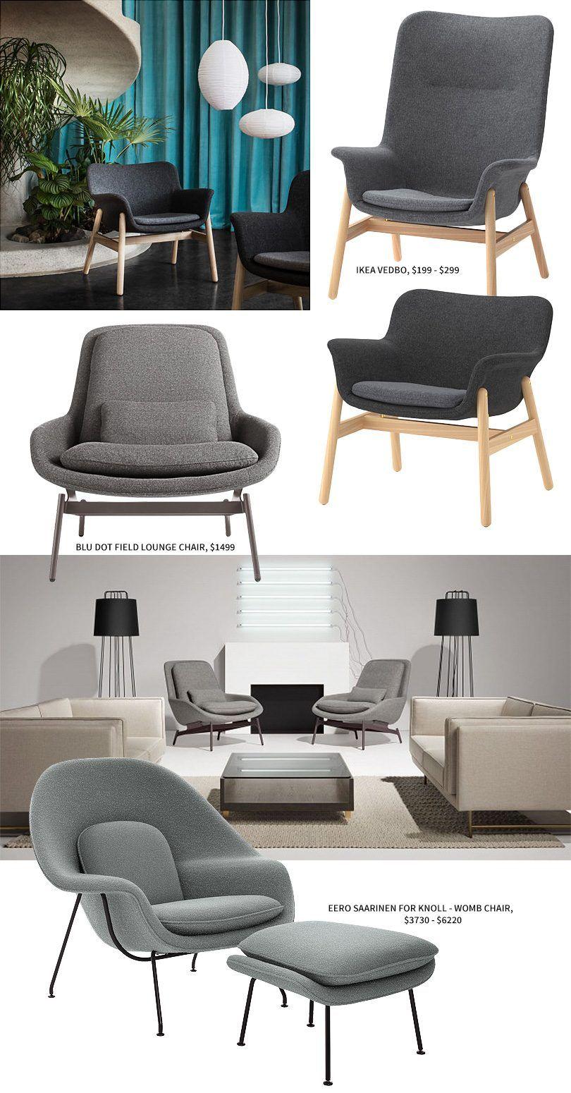 ikea vedbo vs blu dot field lounge chair vs eero saarinen womb chair