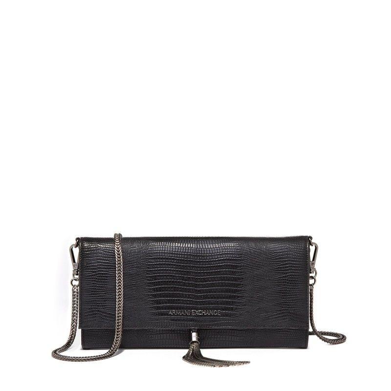 ac0050143f5 Armani Exchange Tassel Black Crossbody Bag with Chain Strap   Bags ...