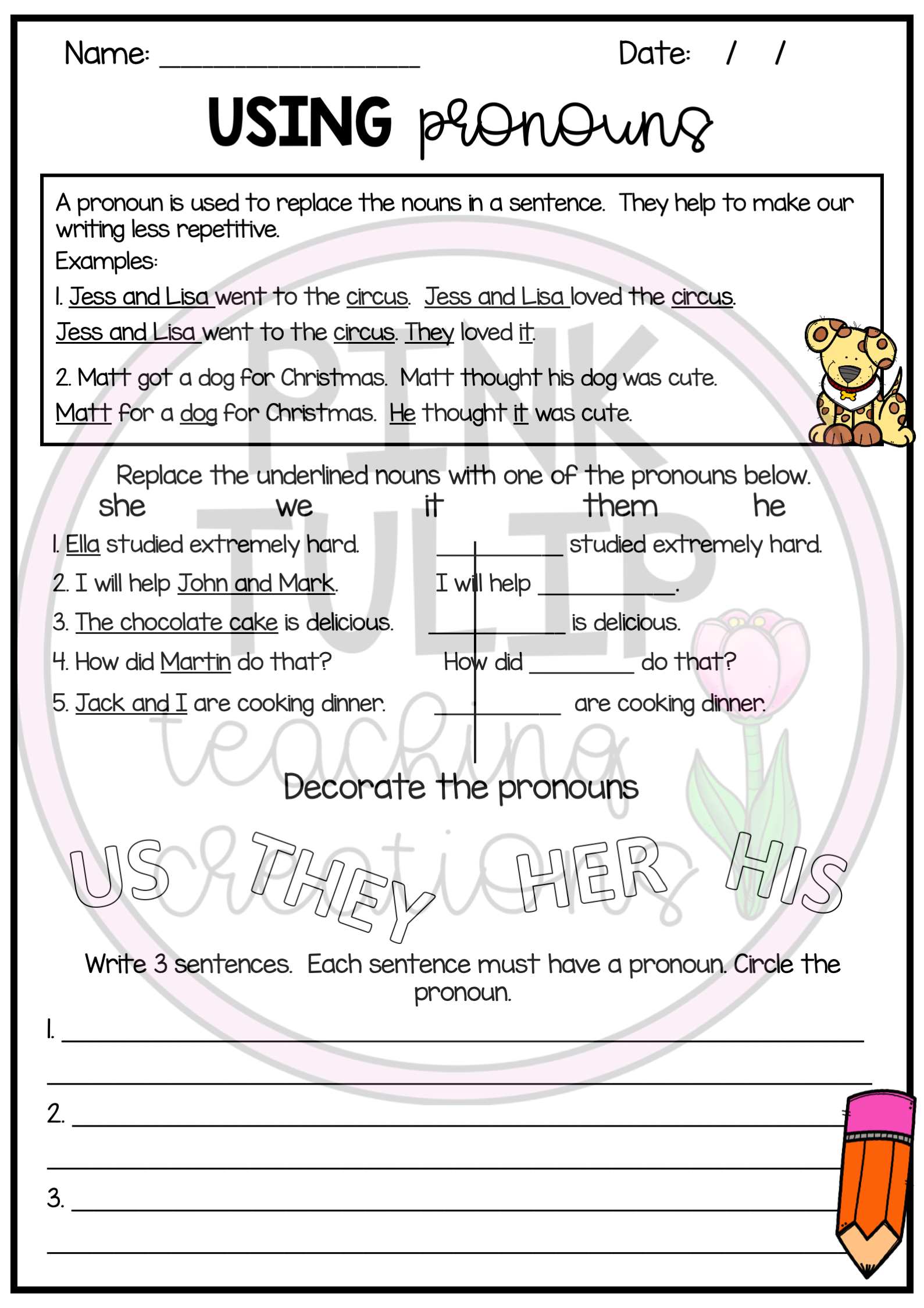 Nouns Worksheet Pack