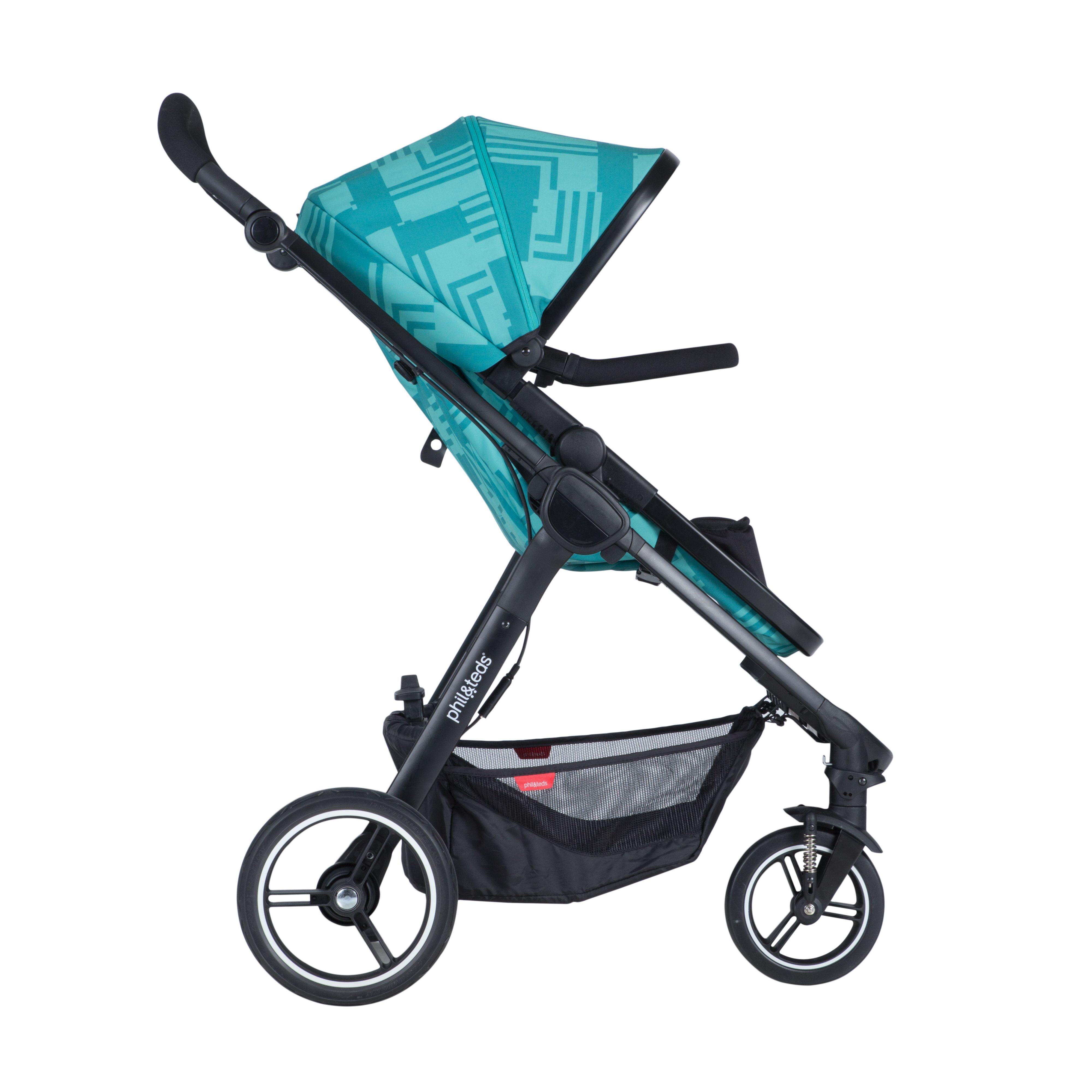 phil&teds mod stroller in capri with a 4 in 1 modular seat