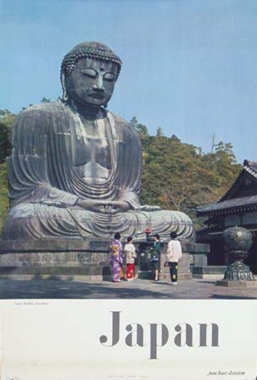 1960s Kamakura Buddha Japan vintage travel poster