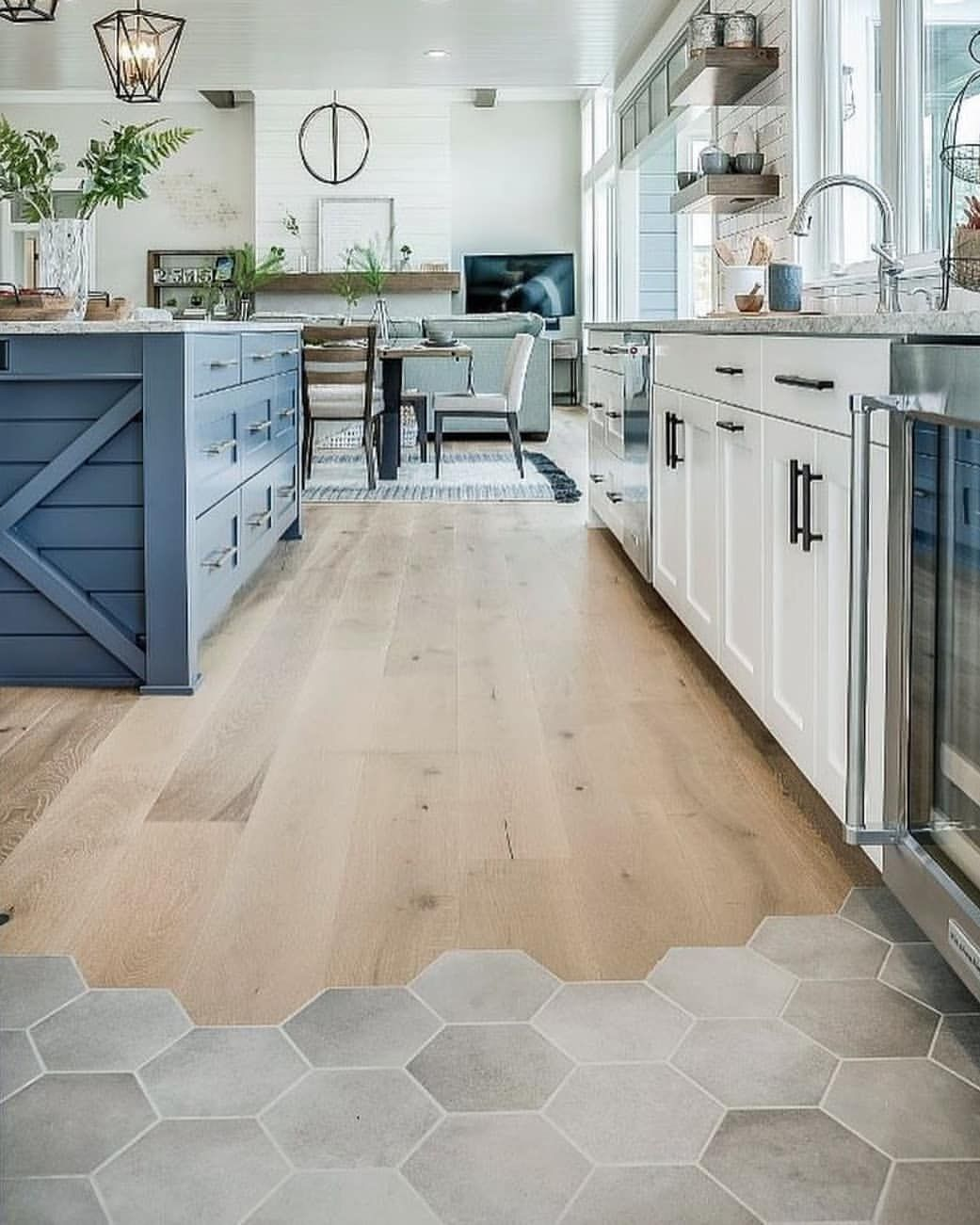 Who Says Rooms Only Need One Type Of Floor Covering We Love The Combination Of A Hexagonal T Vinyl Flooring Kitchen Best Flooring For Kitchen Kitchen Flooring