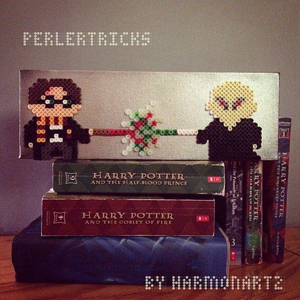Harry Potter: Final battle scene on stretched canvas. Original perler design. by perlertricks (by HarmonArt2)