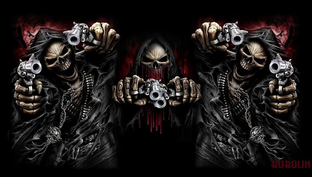 Череп и оружие картинка