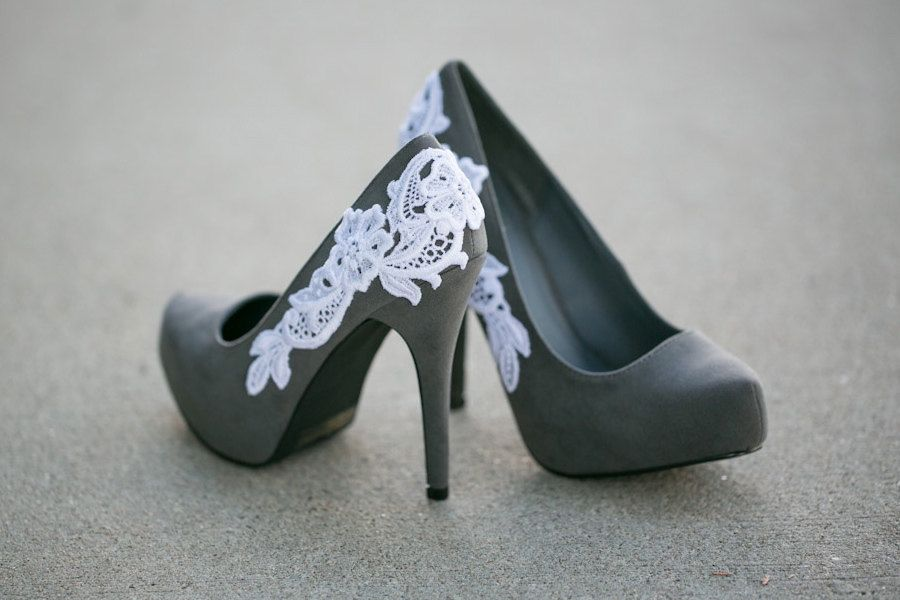 Grey Heels With Lace