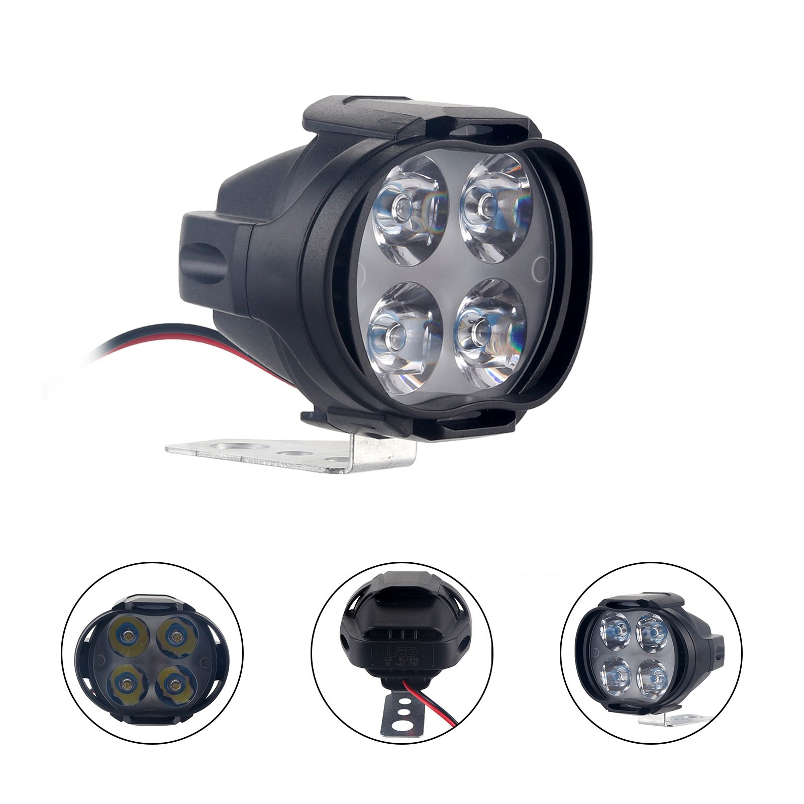 High Power 12w Super Bright Motorcycle Led Light Fog Spot White Headlight Working Light 12v Deco Moto Led Moto