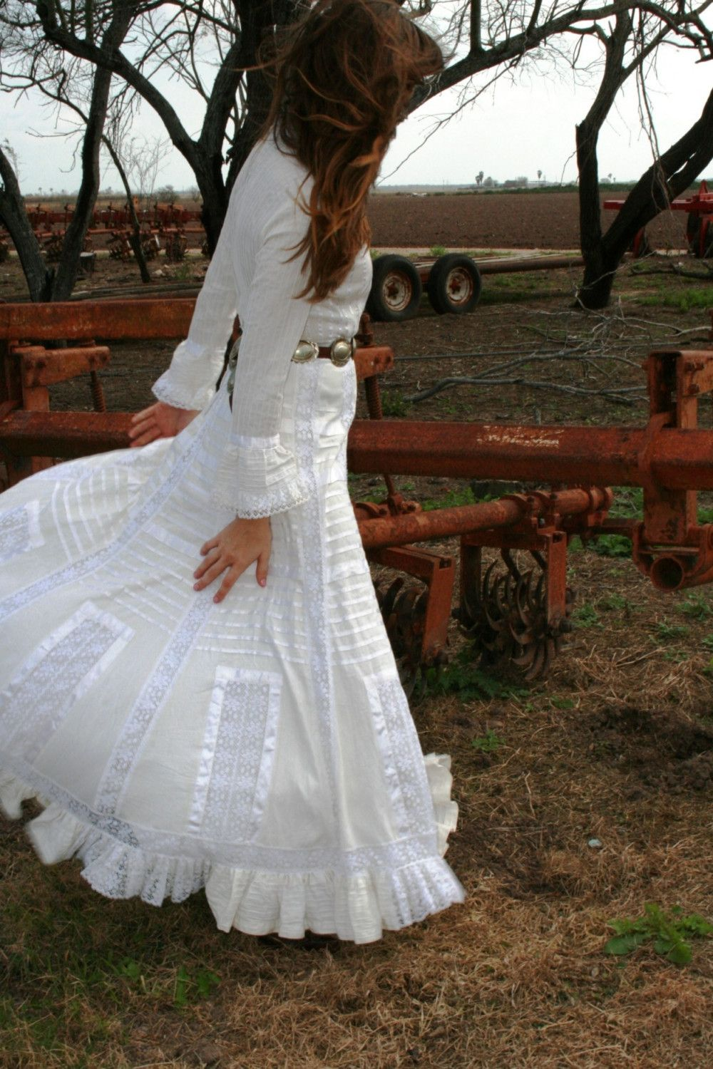 cowgirl wedding dresses Exquisite Pin Tucked Mexican Wedding Dress Bohemian Gypsy Bride