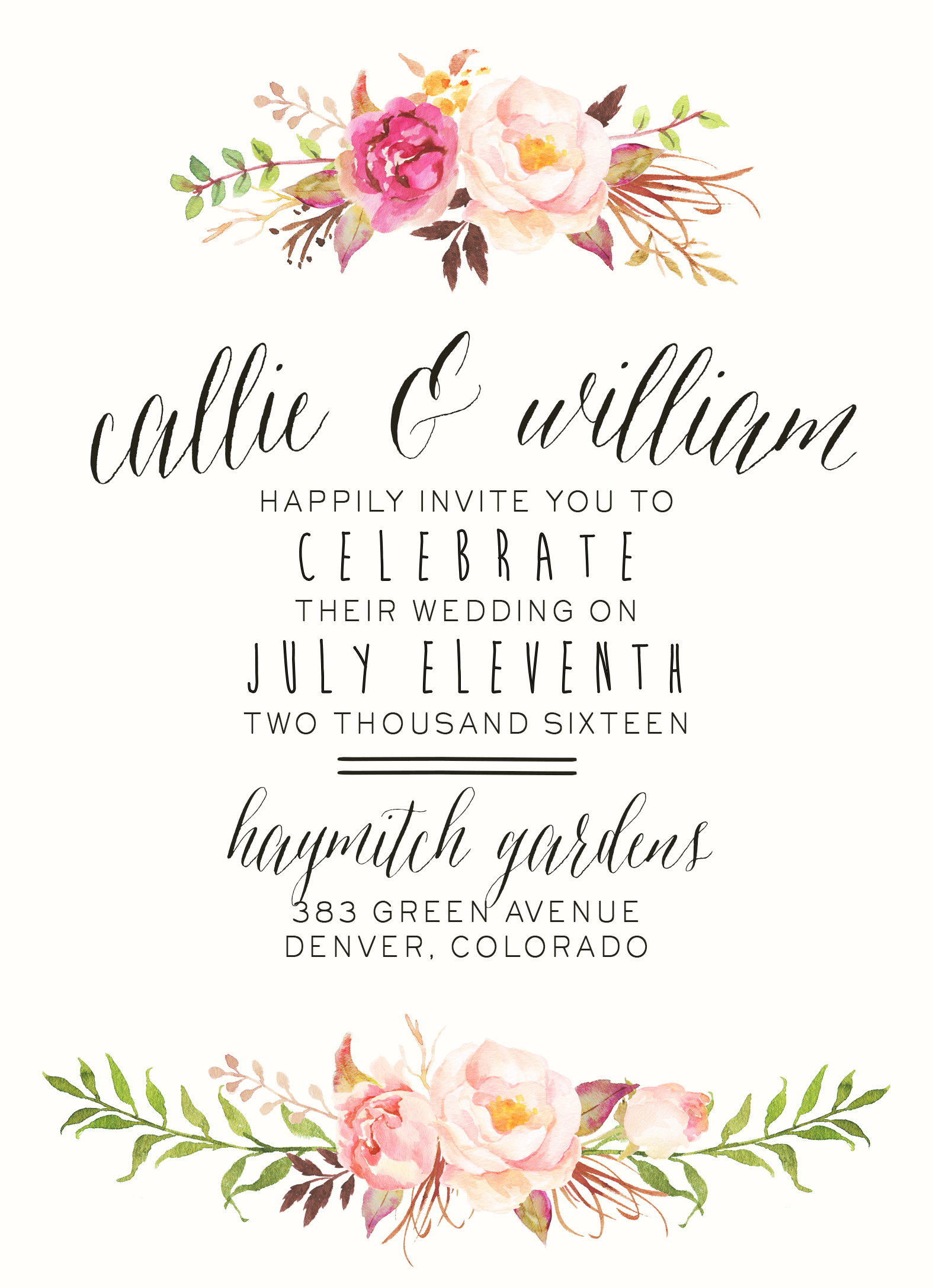 Watercolor Floral Wedding Invitation by SplashOfSilver Rustic – Spring or Summer Theme Invitation Cards