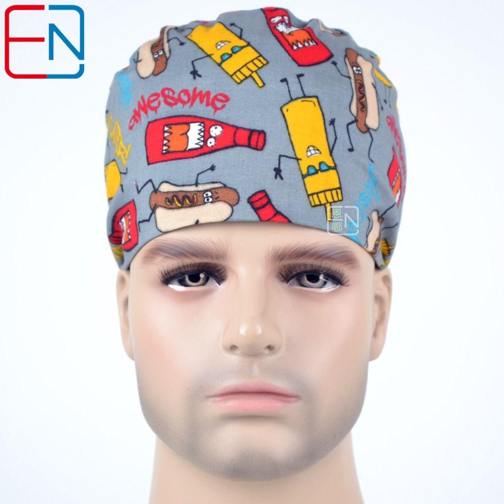 doctors and nurses Surgical caps Hat Cap Cotton Cap and short hair with  Sweatbands 86ce5c91847