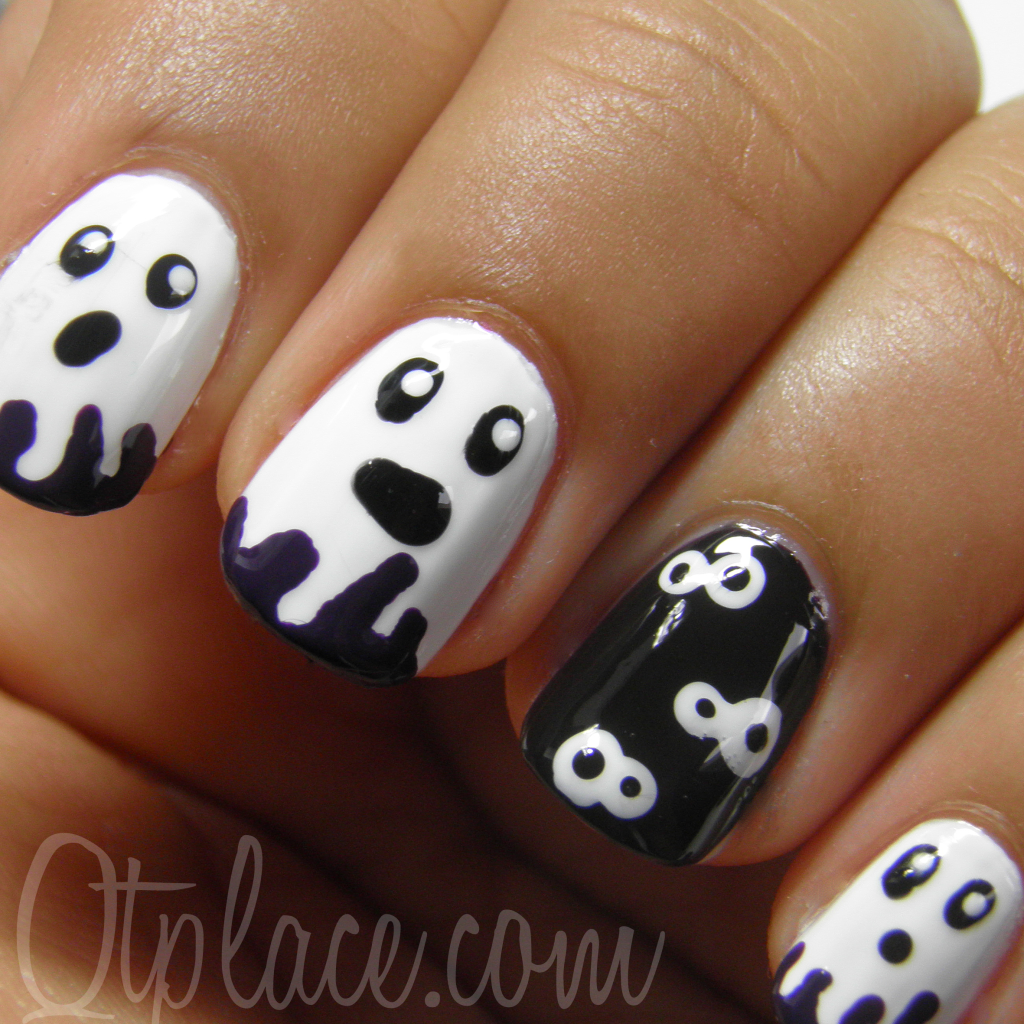 This is my very first Halloween nail art design! I was planning on doing a  lot more Halloween nail art tutorials. But I will save it for next year 😀. - Too Cute For Halloween :) Holiday Halloween Pinterest White