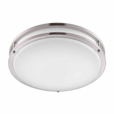 Hampton Bay Brushed Nickel Led Round Flush Mount Dc016ledb The Home Depot Flush Mount Ceiling Lights Modern Led Ceiling Lights White Light Fixture