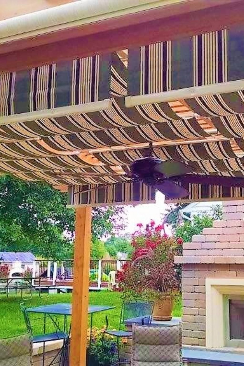 Green Striped Fabric Canopies To Shade Your Patio Setting Pergola Shade Cover Outdoor Fabric Canopy Pergola
