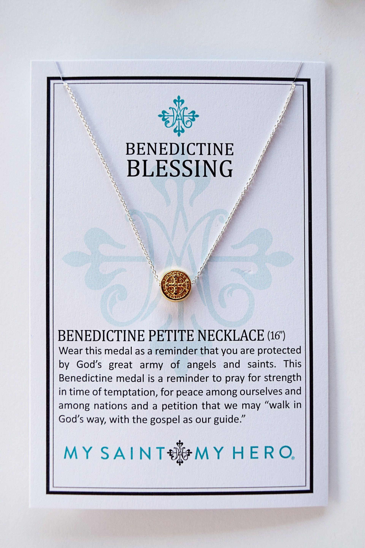 My Saint My Hero Jewelry  Petite Necklaces  Benedictine Cross