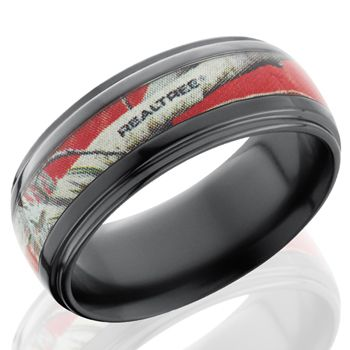 Fable Designs Black Zirconium Half Round 4mm Groove Red Realtree AP  Camouflage Wedding Band