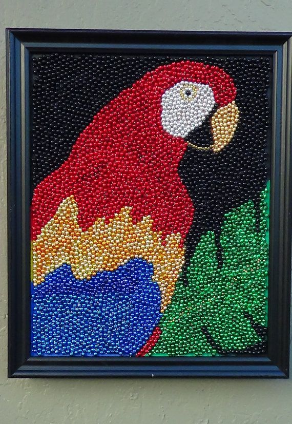 Tropical Parrot Mardi Gras Bead Mosaic Art By