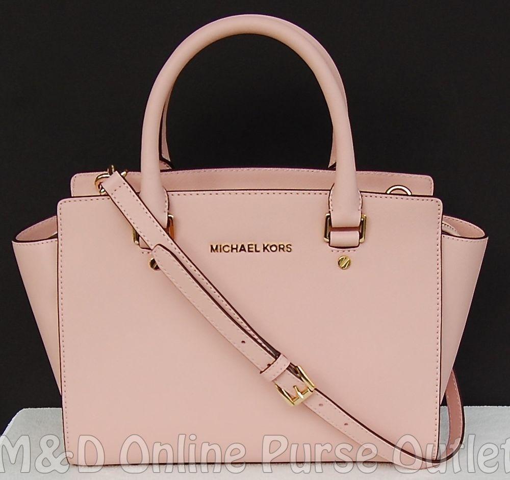 d636ee950b26 NWT Michael Kors Saffiano Leather Selma Medium TZ Satchel Purse Bag ~Pastel  Pink  MichaelKors  TotesShoppers