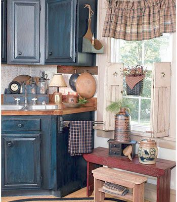 Primitive Kitchen looks like the old days in my first richmond apt. kitchen, ha