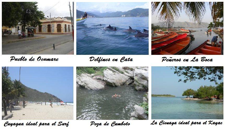 Algunos destinos turísticos de La Costa, región donde está ambientada la saga (Ocumare de la Costa de Oro)