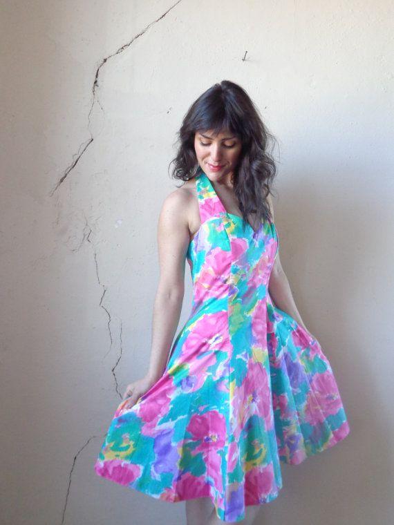 70ecd33f9cdb NOS 90s neon floral print halter dress  deadstock 90s party dress  full  skirt   size large