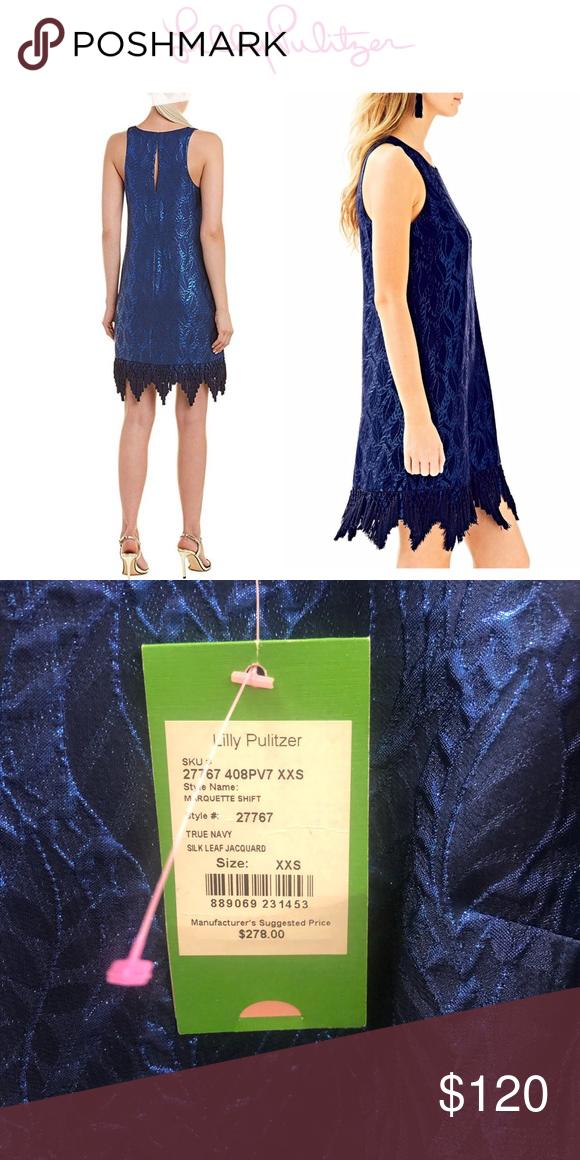 $278 Lilly Pulitzer Marquette Navy Silk Leaf Metallic Jacquard Fringe Hem Dress