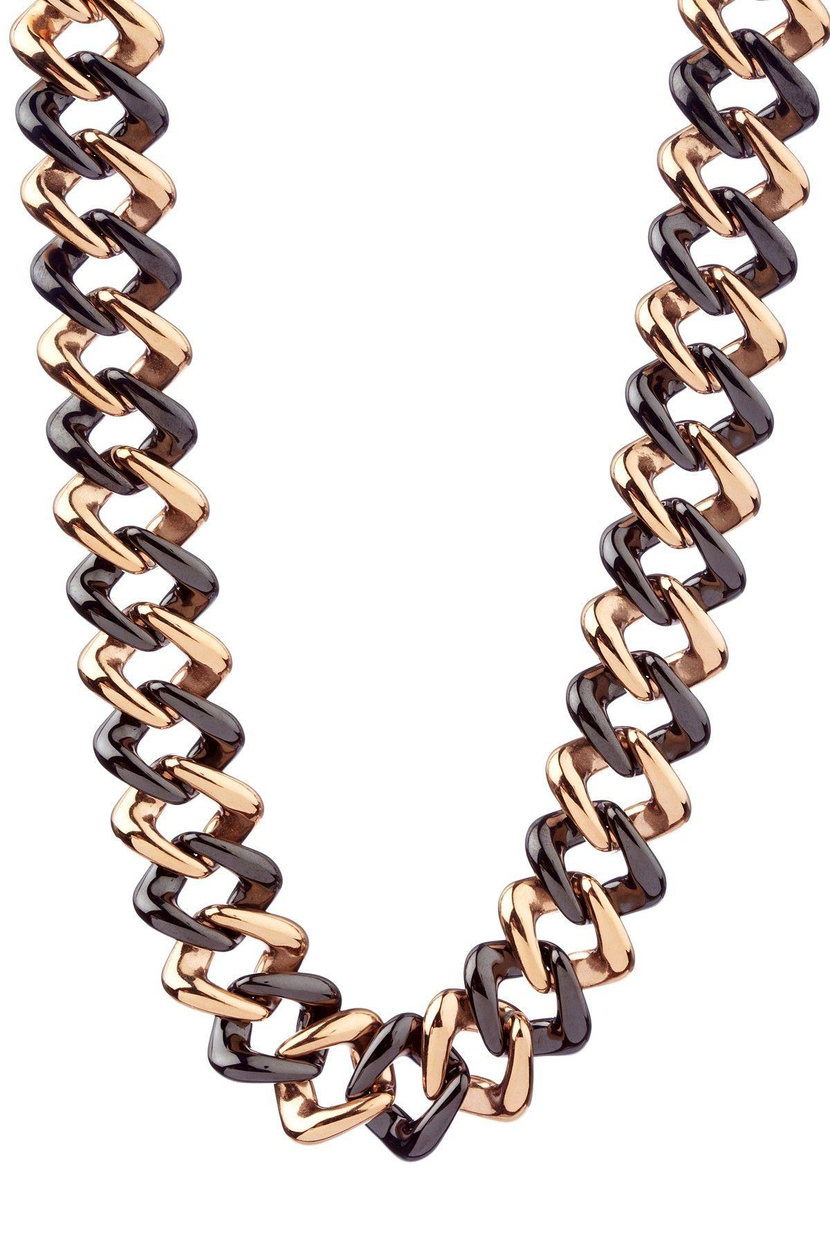 14K Rose Gold Plated & Black Ceramic Link Necklace