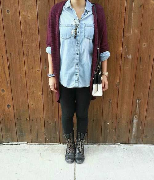 b1a9de218e6 maroon-cardigan-outfit- How to rock the maroon boots – Just Trendy Girls