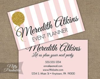 Girly event planning business cards page 1 girly business cards gold glitter pink printable business cards by niftyprintables perfect for event planners party planners and wedding colourmoves