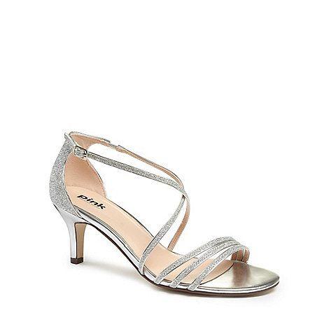 Kitten heel sandals, Silver shoes low