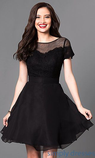 Short Sleeve Lace Bodice Short Semi Formal Dress Dresses For Mana