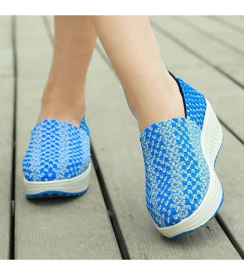 Blue Weave Check Slip On Rocker Bottom Shoe Sneaker 1654 Rocker Bottom Shoes Blue Weave Slip On