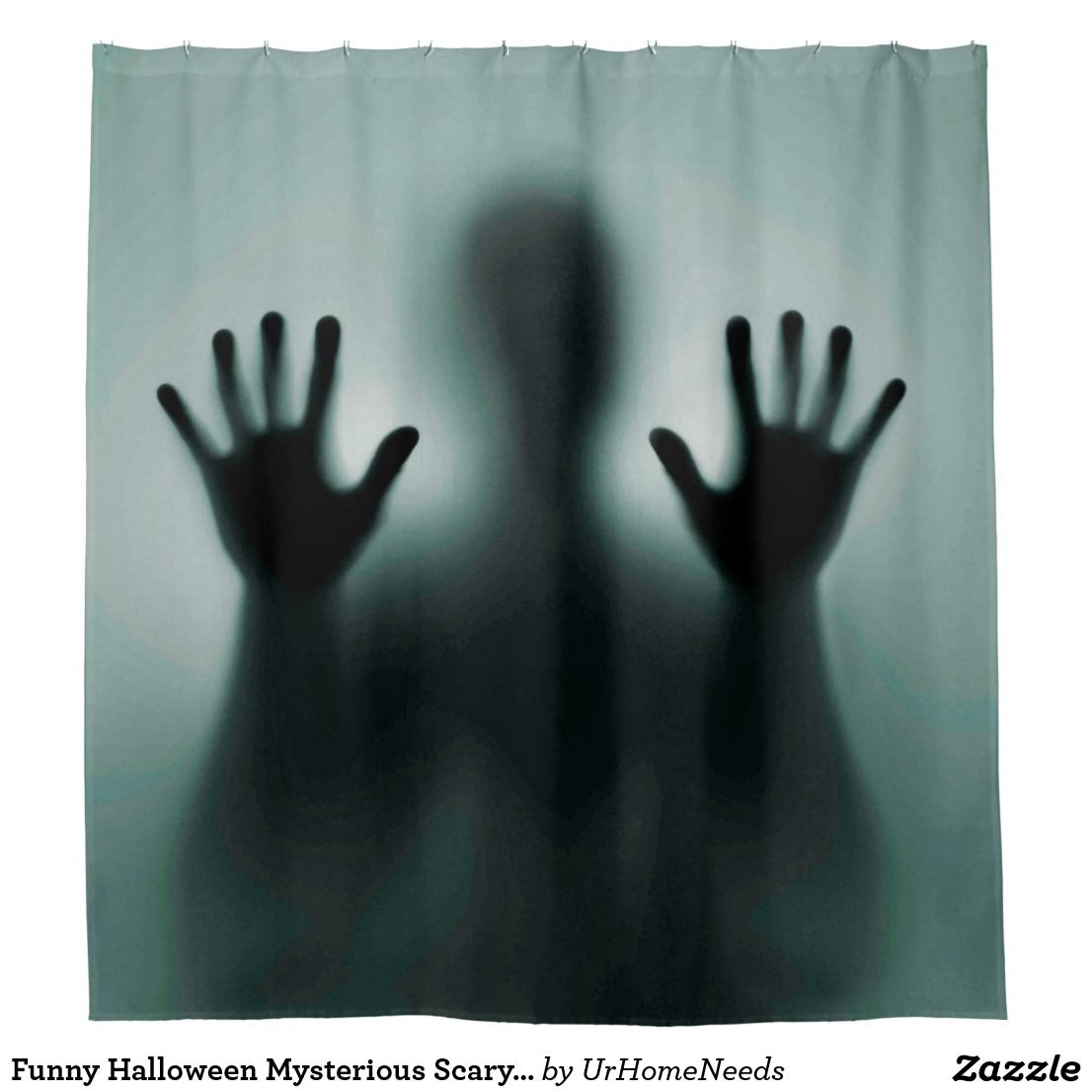 Funny Halloween Mysterious Scary Man Silhouette Shower Curtain