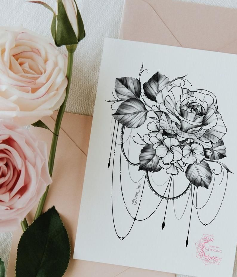 Rose Tattoo Design For Women Instant Download Printable Etsy In 2020 Rose Tattoo Design Tattoo Designs For Women Tattoo Designs