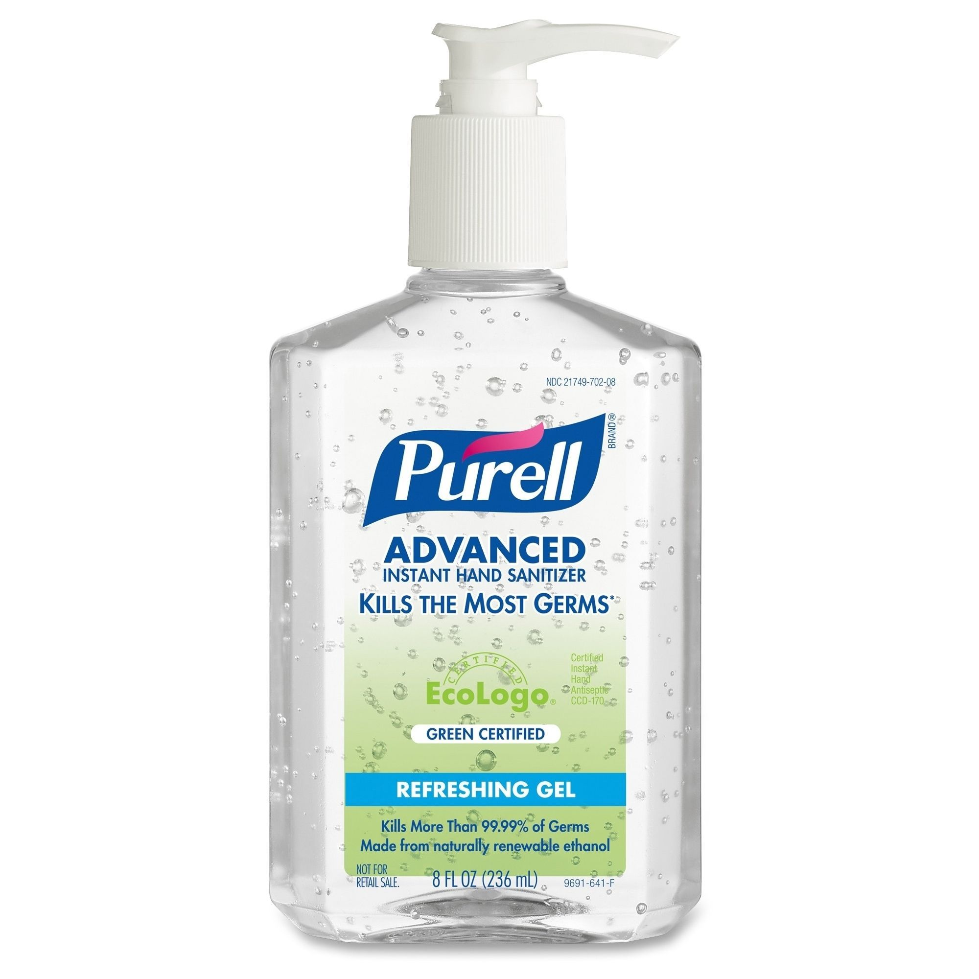 Purell Green Certified Instant Hand Sanitizer Gel 8oz Pump Bottle