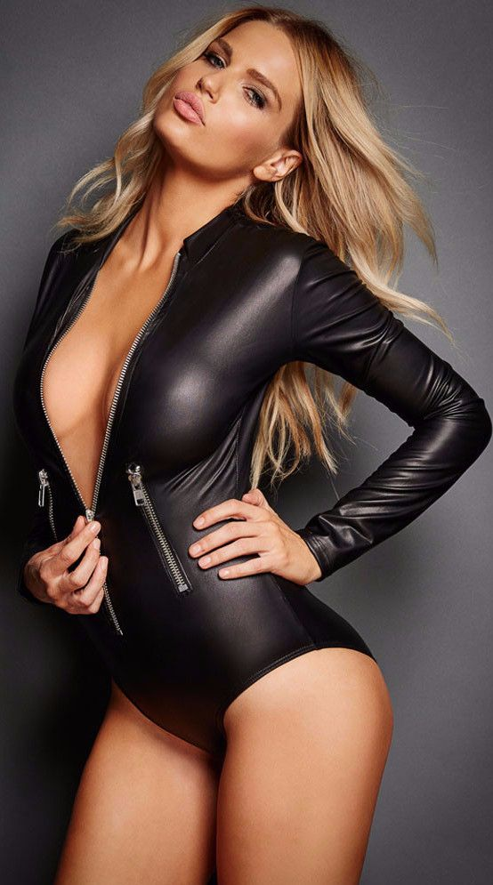 6ea57ed96d36b ... Leotard Costumes Latex Jumpsuits Catsuit Women Wet Look Mini Bodysuit.  Black Vinyl Long Sleeve Zip Detail Bodysuit