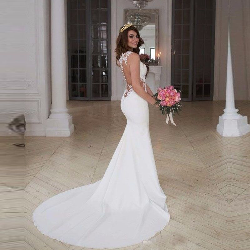 Find More Wedding Dresses Information About 2017 Sexy Back Mermaid Cheap Cutaway Side Lace
