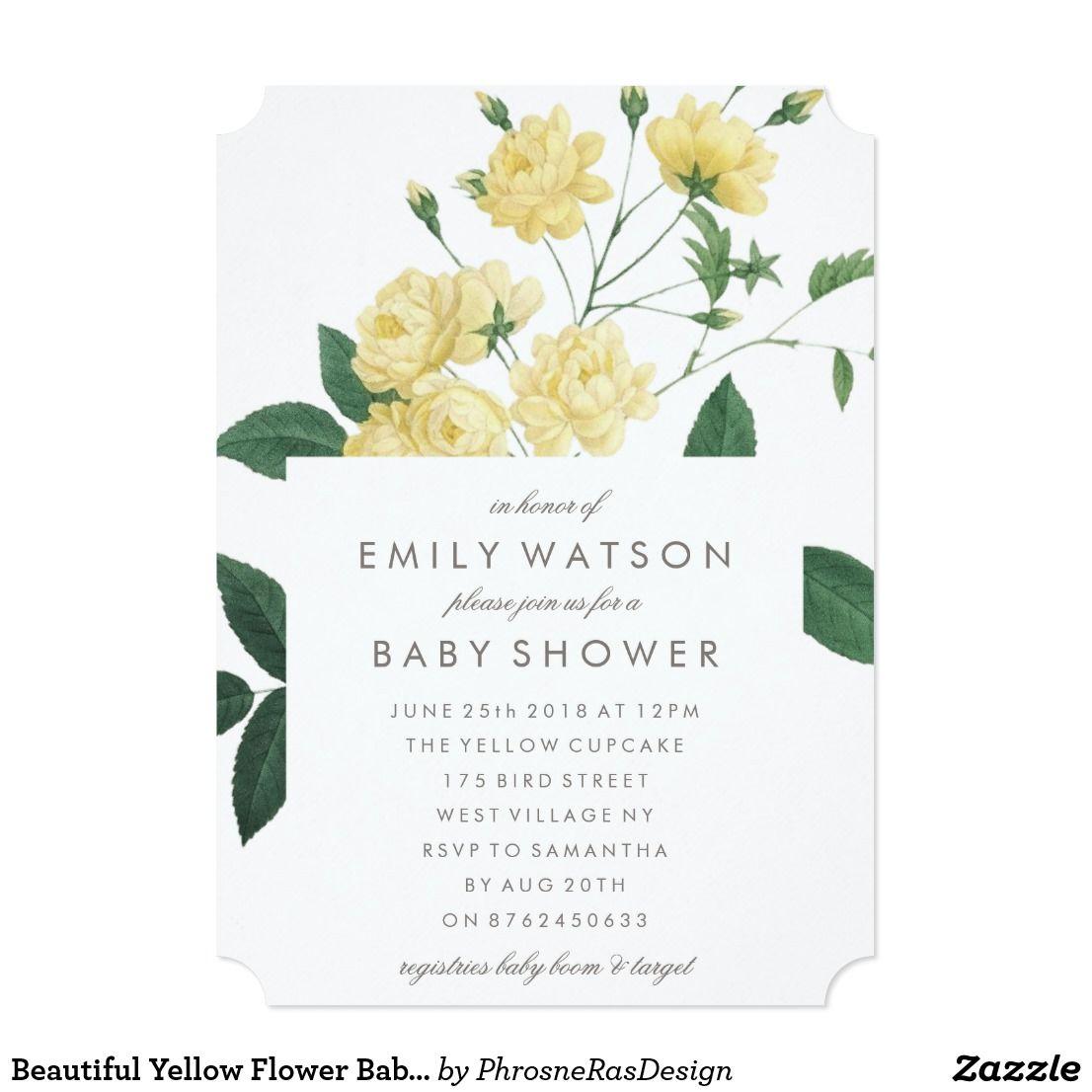 Beautiful yellow flower baby shower invitation oh baby shower