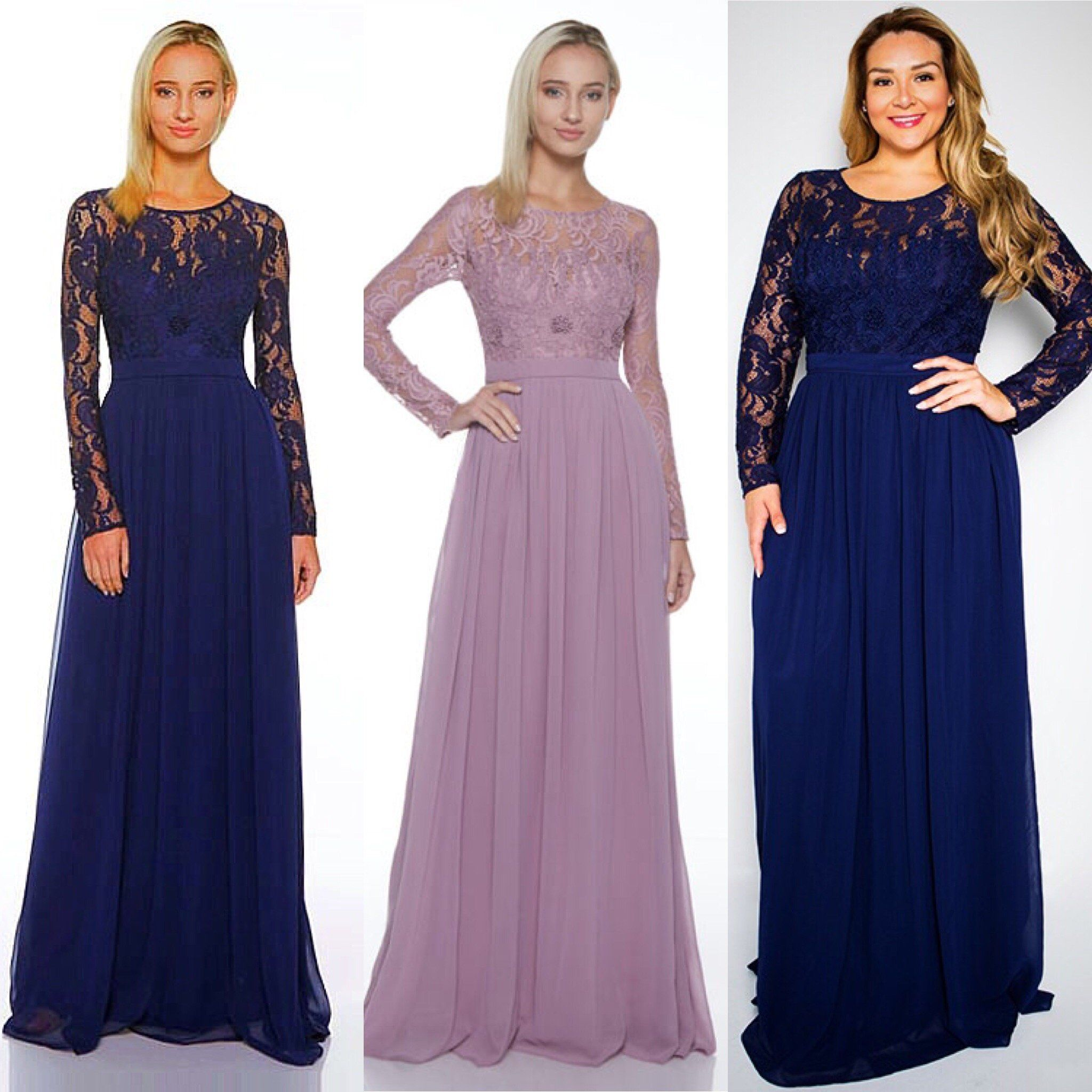 Affordable Floor Length Long Sleeves Maxi Chiffon Lace Plus Size Bridesmaid Dress In Navy Bridesmaid Dresses Plus Size Chiffon Lace Dresses