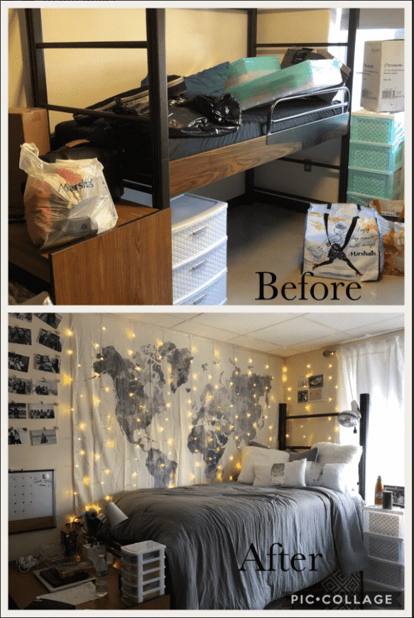 Love this idea for a dorm room  before and after  Great decor! dorm dormroom ideas inspo is part of Boys dorm room -