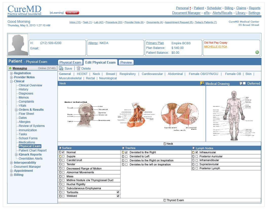 emr physical exam template screenshots pinterest sample