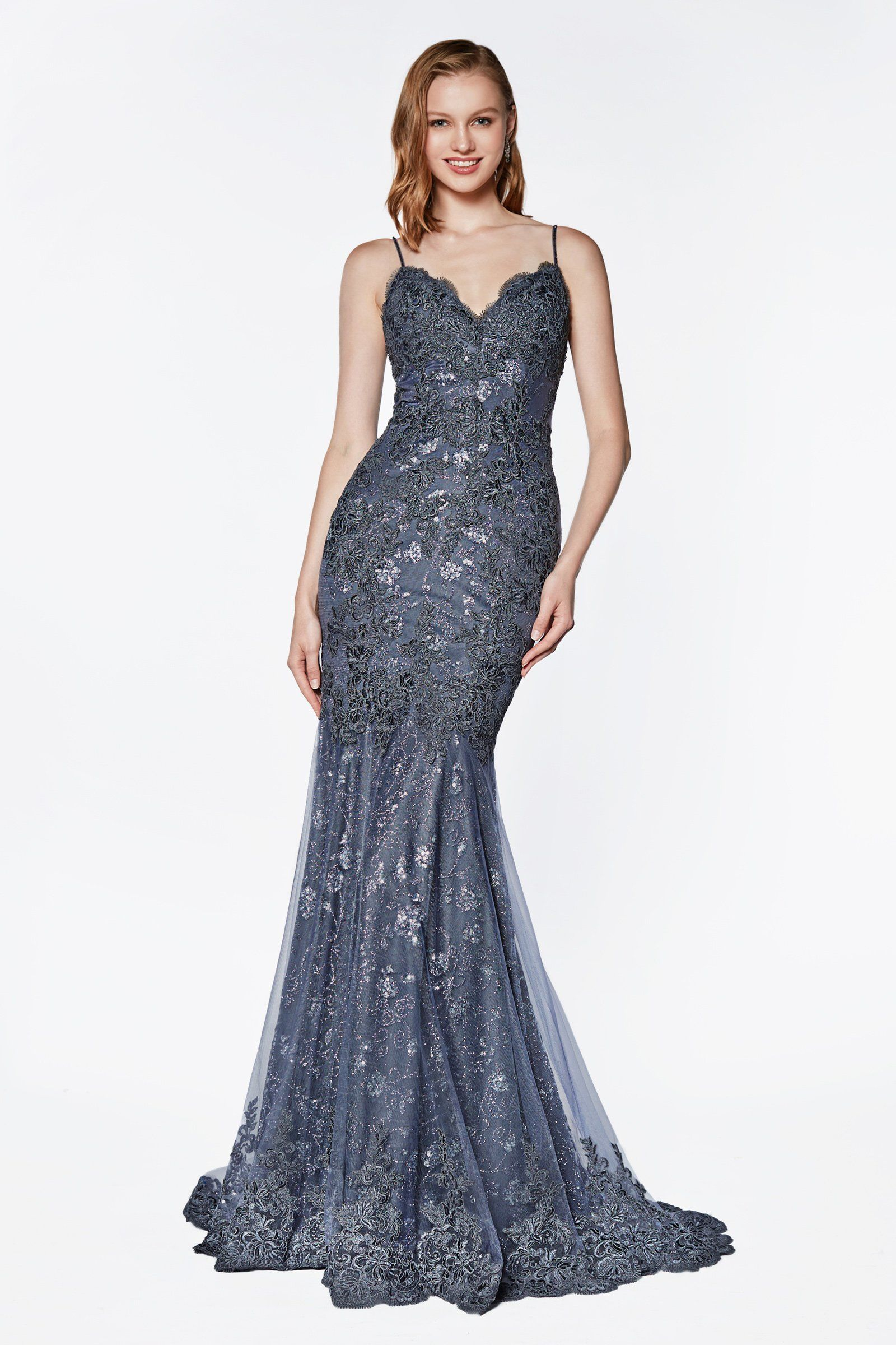 834007d2671 Smoky Blue Lace Applique Mermaid Dress by Cinderella Divine KC887 Fitted Prom  Dresses