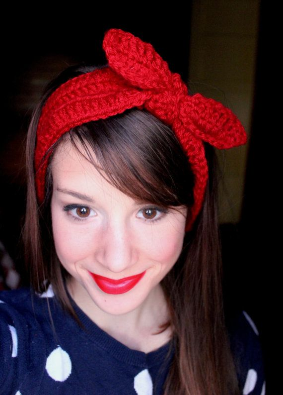 Crocheted Tie Ear Warmers Headband Rosie The Riveter Red Retro