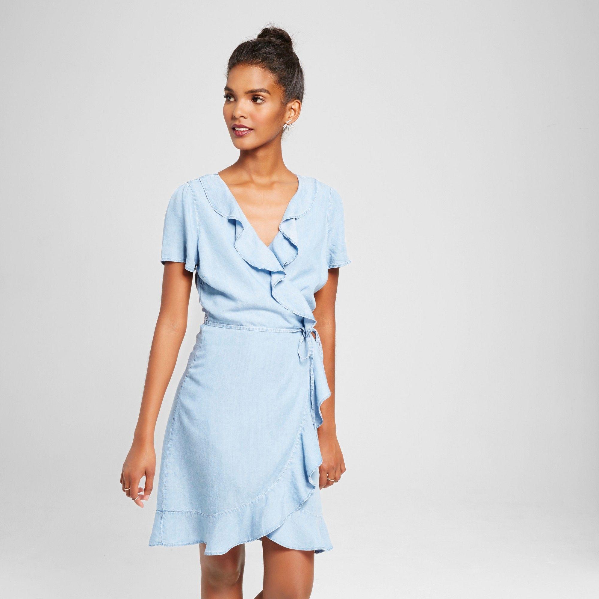 Women s Chambray Ruffle Wrap Dress Light Blue M - 3Hearts (Juniors ... da0c34d4f