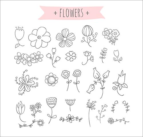商用利用無料 手描きのゆる い感じがかわいいベクター素材 コリス限定全員にプレゼント 花の落書き 刺繍 図案 ドゥードゥルアート