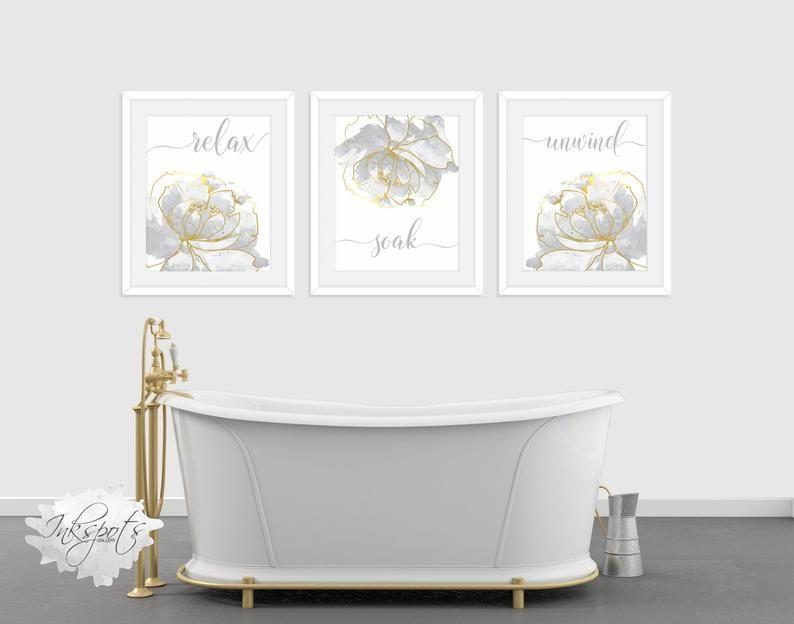 Relax Soak Unwind Bathroom Wall Decor Printable 3 Piece Wall Etsy Bathroom Wall Decor Wall Decor Printables Wall Decor
