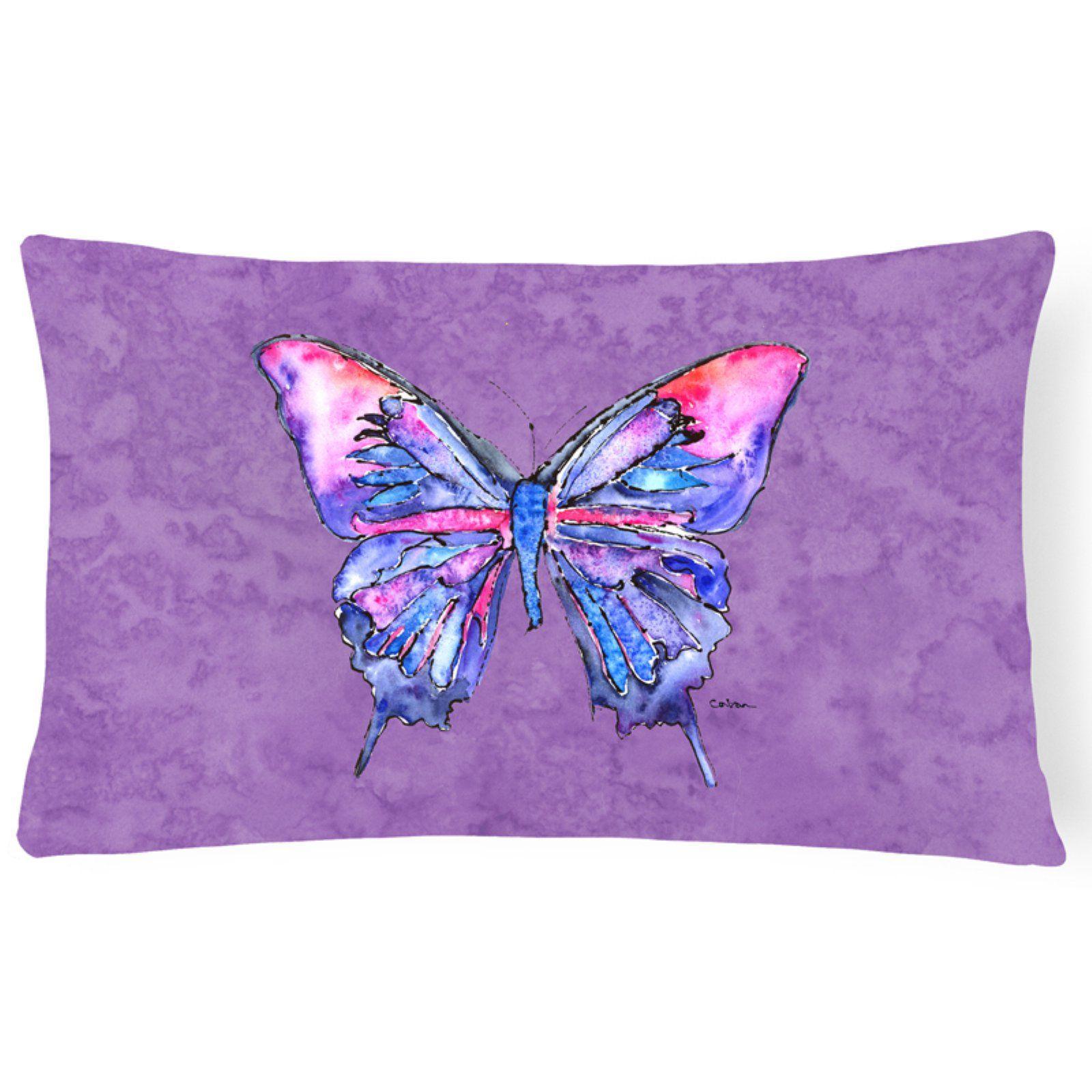 Carolines Treasures Butterfly on Purple Rectangular Decorative Outdoor Pillow