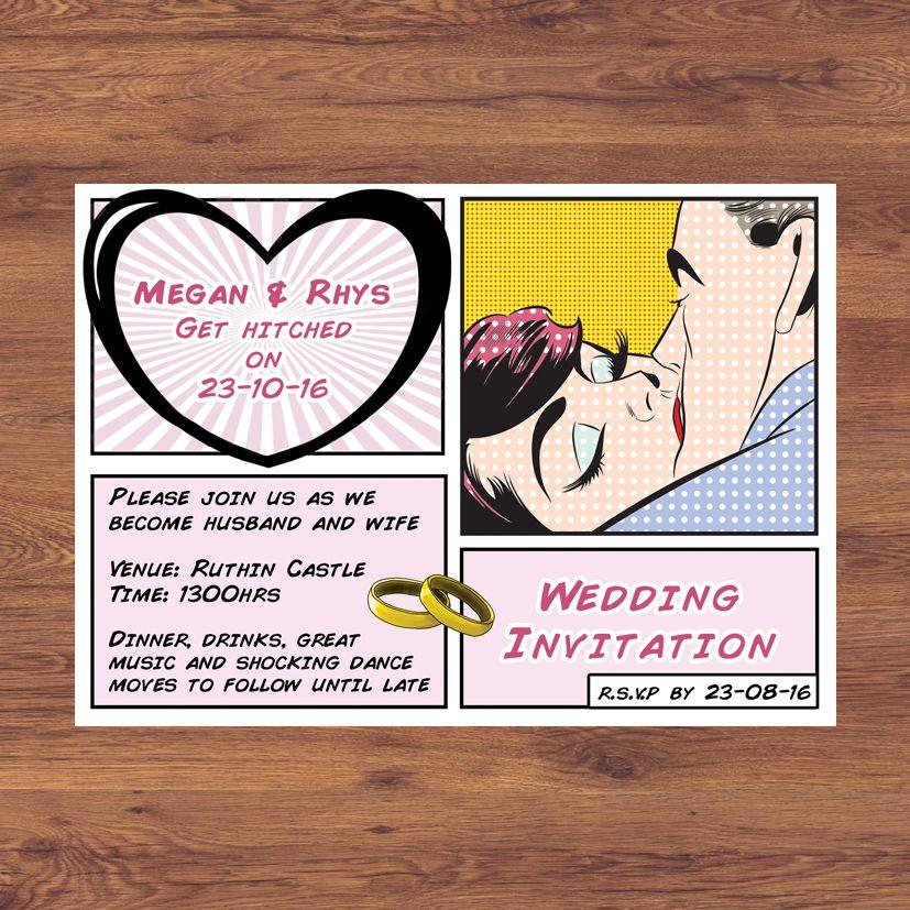 Comic Pop Wedding Invitation Pop Art, Comic Book, Design by Eden ...