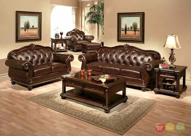 Anondale Traditional On Tufted Dark Brown Leather Sofa Set